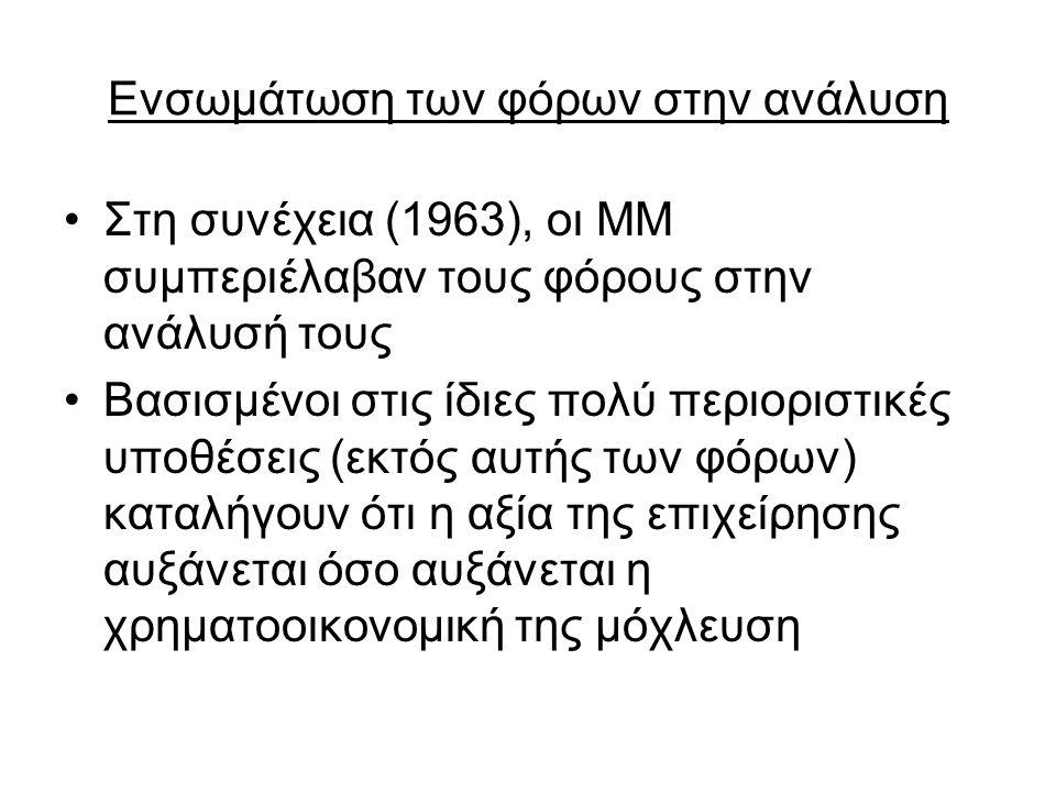 Ενσωμάτωση των φόρων στην ανάλυση Στη συνέχεια (1963), οι ΜΜ συμπεριέλαβαν τους φόρους στην ανάλυσή τους Βασισμένοι στις ίδιες πολύ περιοριστικές υποθ