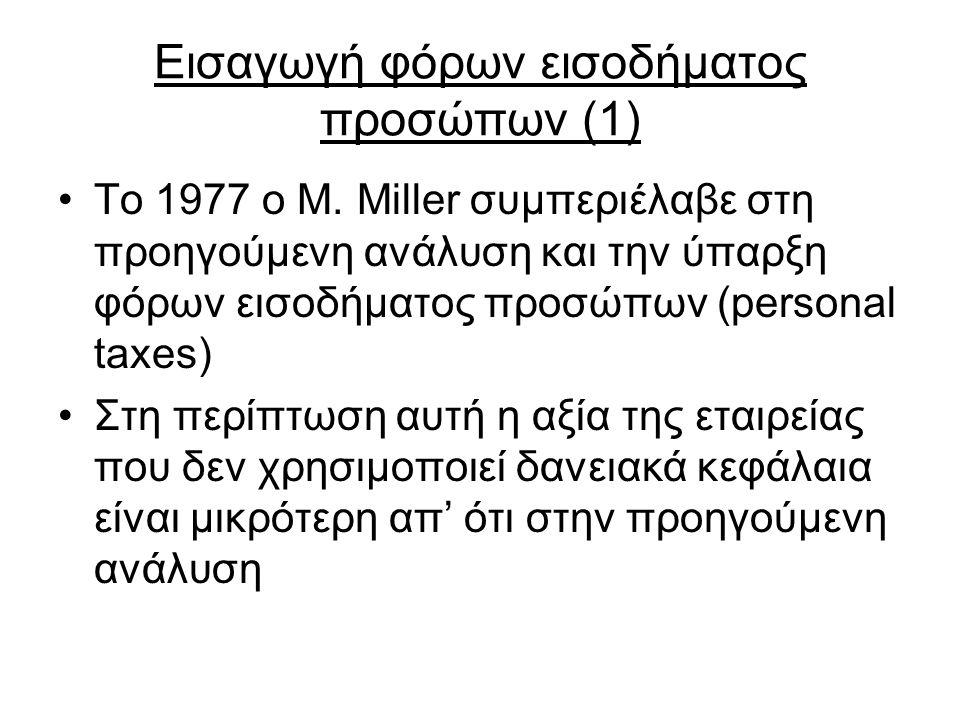 Εισαγωγή φόρων εισοδήματος προσώπων (1) Το 1977 ο M. Miller συμπεριέλαβε στη προηγούμενη ανάλυση και την ύπαρξη φόρων εισοδήματος προσώπων (personal t