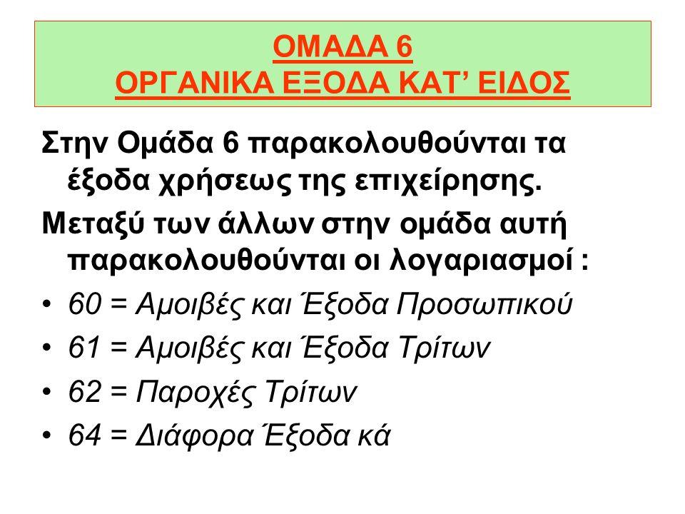 ΟΜΑΔΑ 6 ΟΡΓΑΝΙΚΑ ΕΞΟΔΑ ΚΑΤ' ΕΙΔΟΣ Στην Οµάδα 6 παρακολουθούνται τα έξοδα χρήσεως της επιχείρησης.