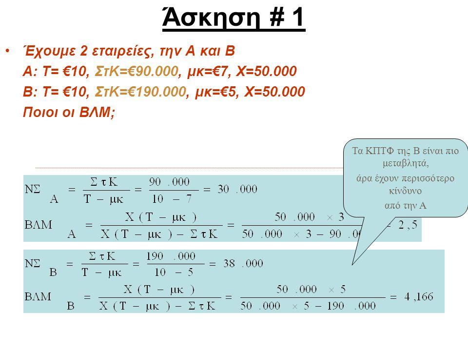Άσκηση # 1 Έχουμε 2 εταιρείες, την Α και Β Α: Τ= €10, ΣτΚ=€90.000, μκ=€7, Χ=50.000 Β: Τ= €10, ΣτΚ=€190.000, μκ=€5, Χ=50.000 Ποιοι οι ΒΛΜ; Τα ΚΠΤΦ της Β είναι πιο μεταβλητά, άρα έχουν περισσότερο κίνδυνο από την Α