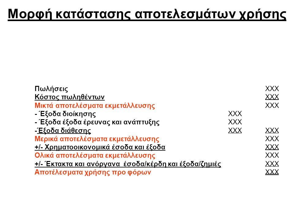 Μορφή κατάστασης αποτελεσμάτων χρήσης ΠωλήσειςΧΧΧ Κόστος πωληθέντωνΧΧΧ Μικτά αποτελέσματα εκμετάλλευσηςΧΧΧ - Έξοδα διοίκησηςΧΧΧ - Έξοδα έξοδα έρευνας και ανάπτυξηςΧΧΧ -Έξοδα διάθεσηςΧΧΧ Μερικά αποτελέσματα εκμετάλλευσηςΧΧΧ +/- Χρηματοοικονομικά έσοδα και έξοδαΧΧΧ Ολικά αποτελέσματα εκμετάλλευσηςΧΧΧ +/- Έκτακτα και ανόργανα έσοδα/κέρδη και έξοδα/ζημιέςΧΧΧ Αποτέλεσματα χρήσης προ φόρωνΧΧΧ