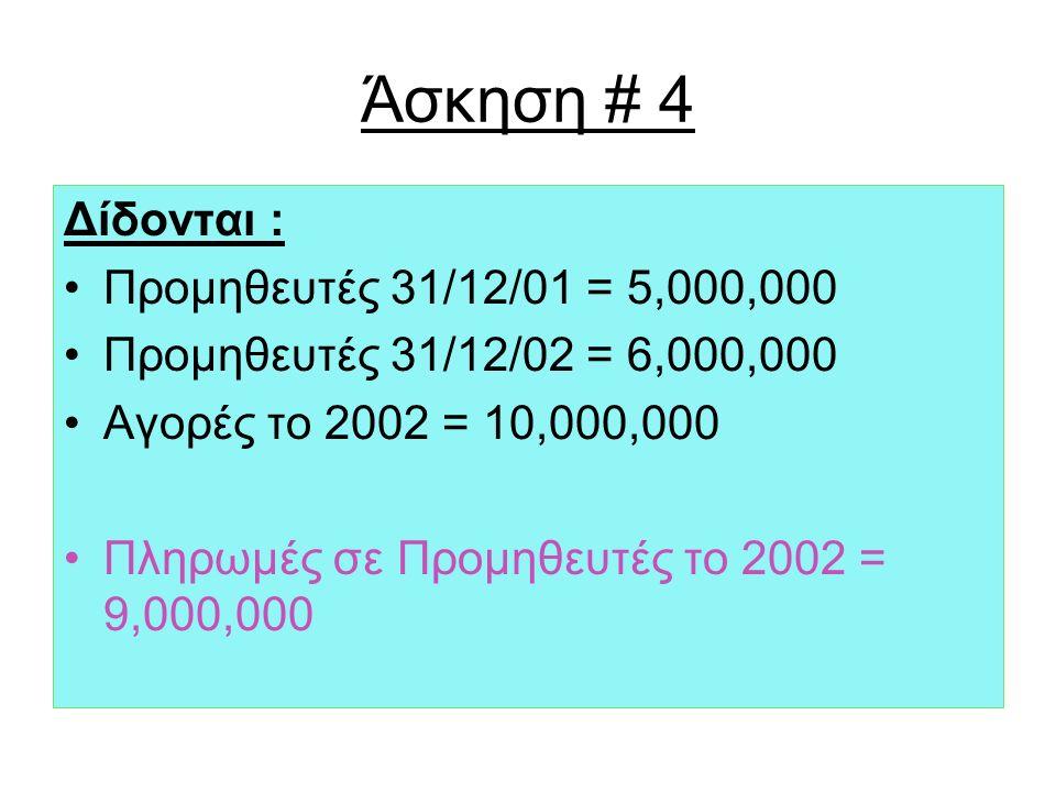 Άσκηση # 4 Δίδονται : Προμηθευτές 31/12/01 = 5,000,000 Προμηθευτές 31/12/02 = 6,000,000 Αγορές το 2002 = 10,000,000 Πληρωμές σε Προμηθευτές το 2002 = 9,000,000