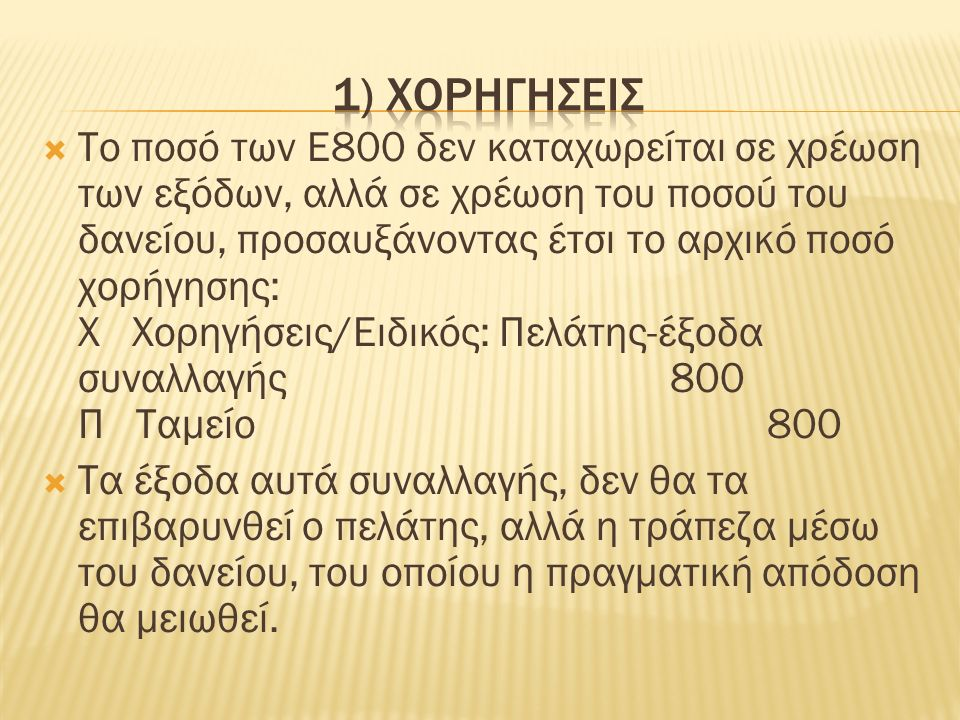  Το ποσό των Ε800 δεν καταχωρείται σε χρέωση των εξόδων, αλλά σε χρέωση του ποσού του δανείου, προσαυξάνοντας έτσι το αρχικό ποσό χορήγησης: Χ Χορηγήσεις/Ειδικός: Πελάτης-έξοδα συναλλαγής 800 Π Ταμείο 800  Τα έξοδα αυτά συναλλαγής, δεν θα τα επιβαρυνθεί ο πελάτης, αλλά η τράπεζα μέσω του δανείου, του οποίου η πραγματική απόδοση θα μειωθεί.
