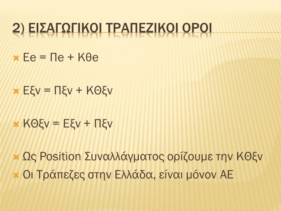  Εe = Πe + Κθe  Εξν = Πξν + ΚΘξν  ΚΘξν = Εξν + Πξν  Ως Position Συναλλάγματος ορίζουμε την ΚΘξν  Οι Τράπεζες στην Ελλάδα, είναι μόνον ΑΕ