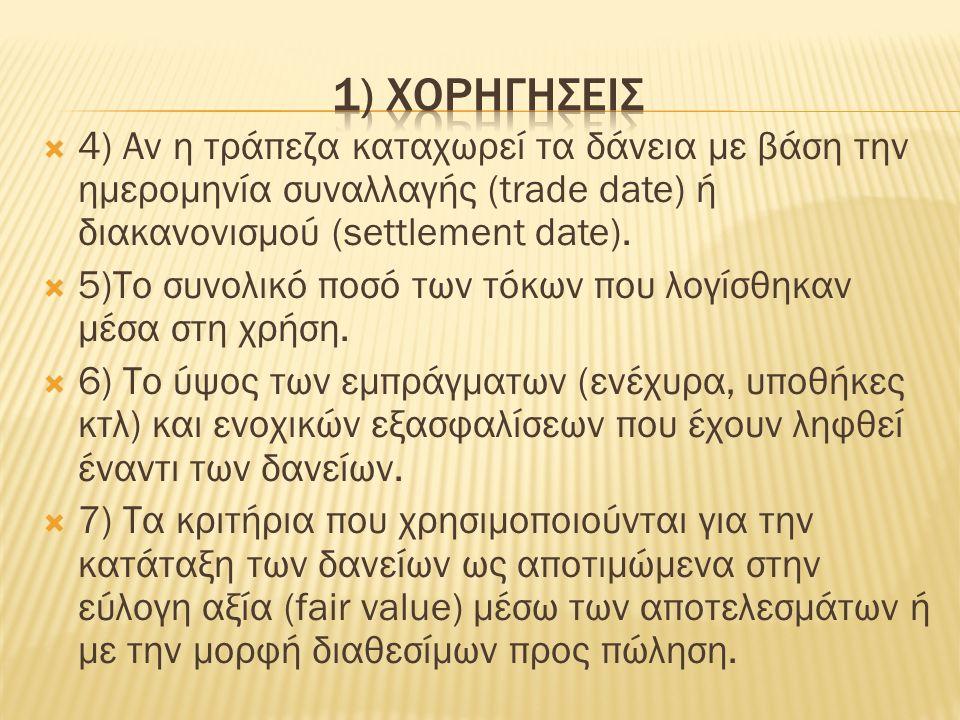  4) Αν η τράπεζα καταχωρεί τα δάνεια με βάση την ημερομηνία συναλλαγής (trade date) ή διακανονισμού (settlement date).
