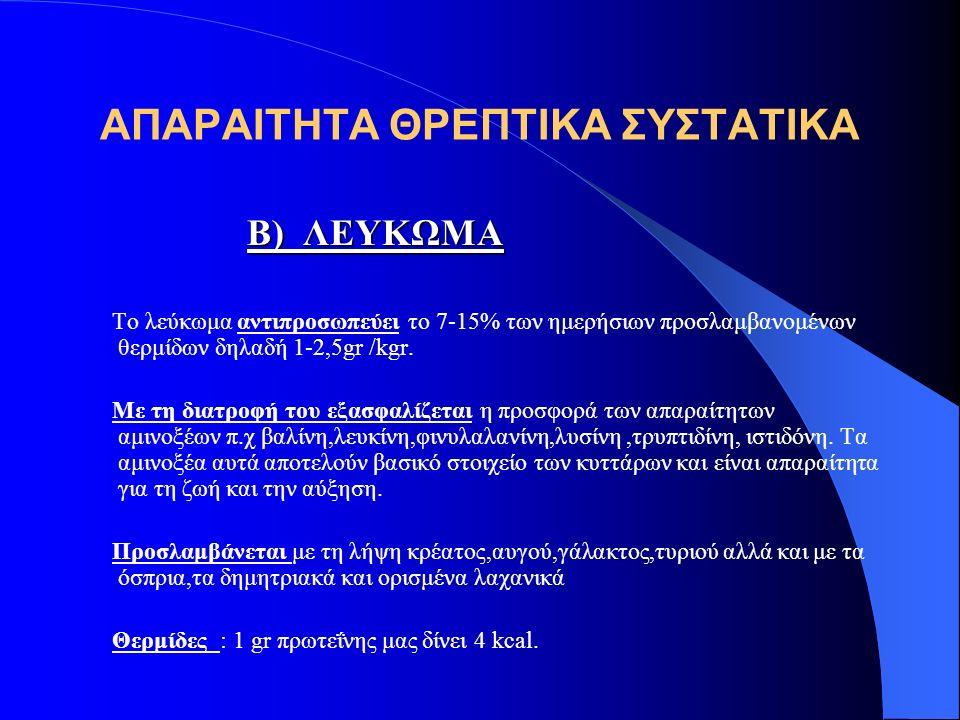 ΑΠΑΡΑΙΤΗΤΑ ΘΡΕΠΤΙΚΑ ΣΥΣΤΑΤΙΚΑ Β) ΛΕΥΚΩΜΑ Β) ΛΕΥΚΩΜΑ Το λεύκωμα αντιπροσωπεύει το 7-15% των ημερήσιων προσλαμβανομένων θερμίδων δηλαδή 1-2,5gr /kgr.