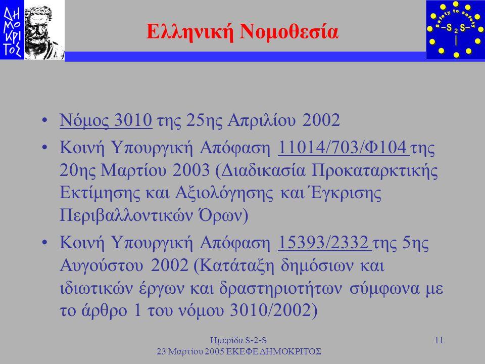 Ημερίδα S-2-S 23 Μαρτίου 2005 ΕΚΕΦΕ ΔΗΜΟΚΡΙΤΟΣ 11 Ελληνική Νομοθεσία Νόμος 3010 της 25ης Απριλίου 2002 Κοινή Υπουργική Απόφαση 11014/703/Φ104 της 20ης