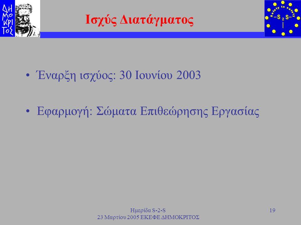 Ημερίδα S-2-S 23 Μαρτίου 2005 ΕΚΕΦΕ ΔΗΜΟΚΡΙΤΟΣ 19 Ισχύς Διατάγματος Έναρξη ισχύος: 30 Ιουνίου 2003 Εφαρμογή: Σώματα Επιθεώρησης Εργασίας