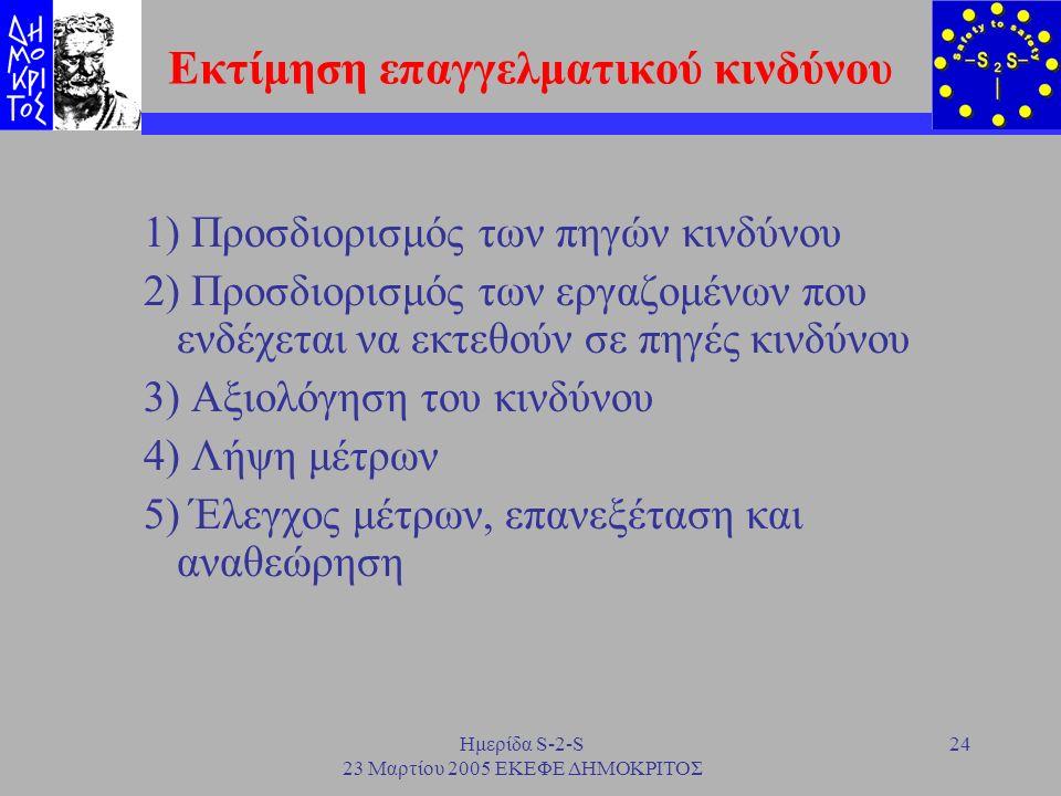 Ημερίδα S-2-S 23 Μαρτίου 2005 ΕΚΕΦΕ ΔΗΜΟΚΡΙΤΟΣ 24 Εκτίμηση επαγγελματικού κινδύνου 1) Προσδιορισμός των πηγών κινδύνου 2) Προσδιορισμός των εργαζομένω