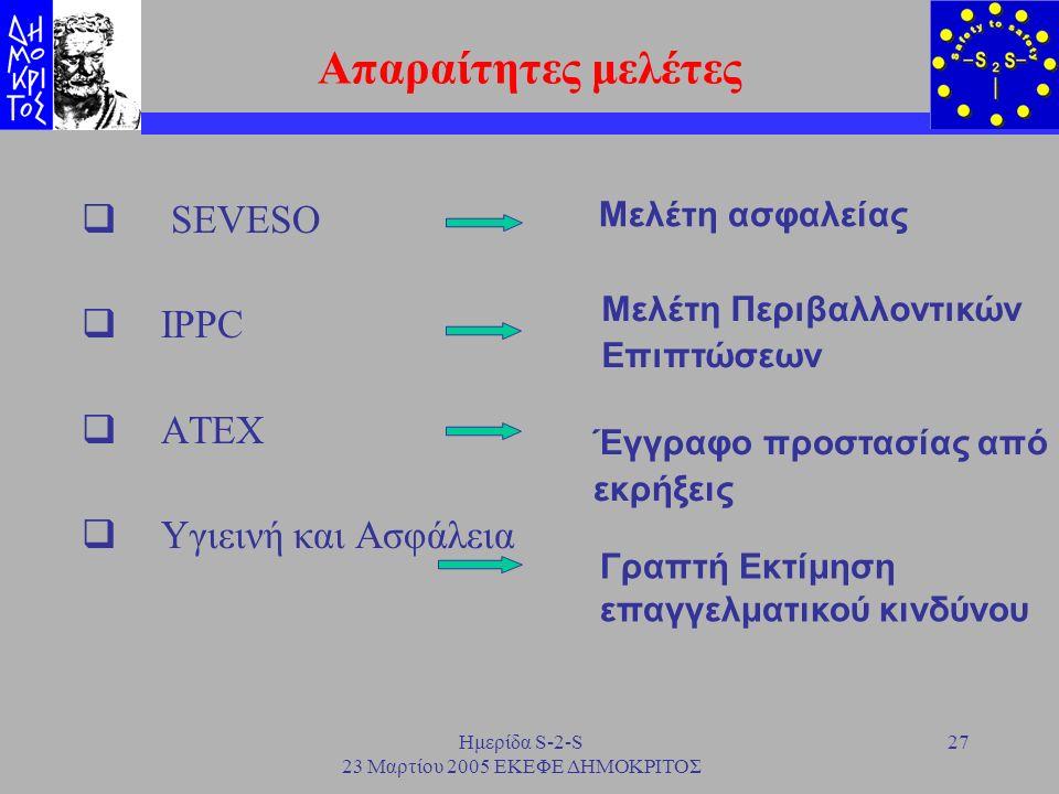 Ημερίδα S-2-S 23 Μαρτίου 2005 ΕΚΕΦΕ ΔΗΜΟΚΡΙΤΟΣ 27 Απαραίτητες μελέτες  SEVESO  IPPC  ATEX  Υγιεινή και Ασφάλεια Μελέτη ασφαλείας Έγγραφο προστασία
