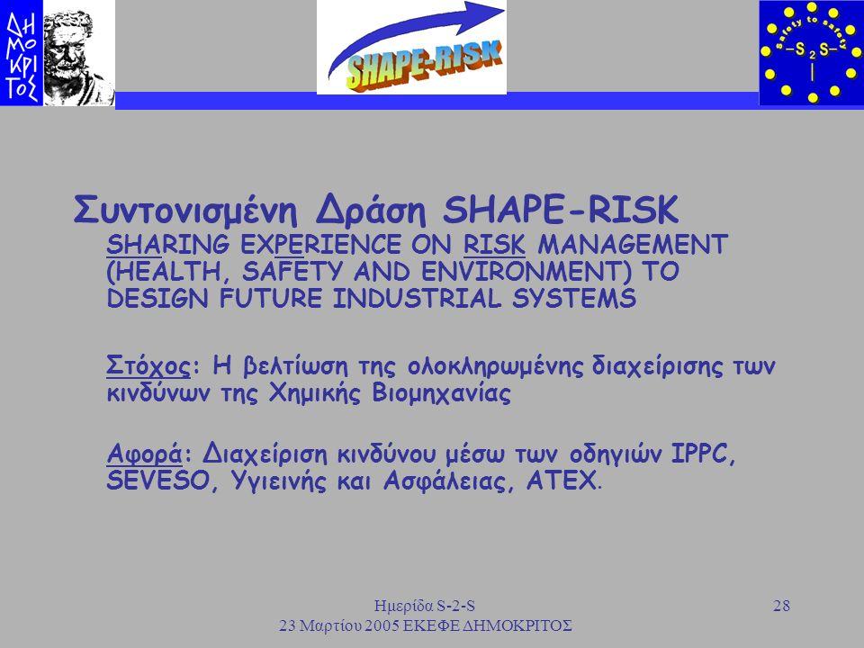 Ημερίδα S-2-S 23 Μαρτίου 2005 ΕΚΕΦΕ ΔΗΜΟΚΡΙΤΟΣ 28 Συντονισμένη Δράση SHAPE-RISK SHARING EXPERIENCE ON RISK MANAGEMENT (HEALTH, SAFETY AND ENVIRONMENT)