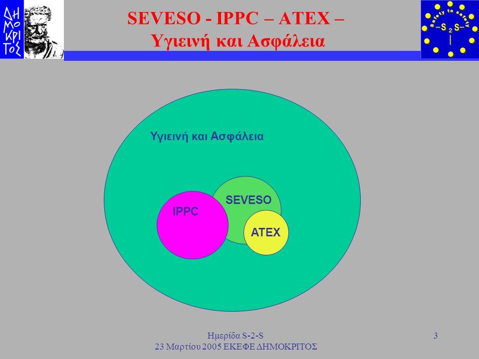 Ημερίδα S-2-S 23 Μαρτίου 2005 ΕΚΕΦΕ ΔΗΜΟΚΡΙΤΟΣ 14 IPPC - SEVESO H IPPC απαιτεί να λαμβάνονται τα κατάλληλα μέτρα για να προλαμβάνονται τα ατυχήματα και να περιορίζονται οι συνέπειές τους Κατά την υποβολή ΜΠΕ αν υπάρχει και ΜΑ πρέπει να κατατίθεται ένα αντίγραφό της Αντίστοιχα κατά την υποβολή ΜΑ απαιτείται και αντίγραφο της ΜΠΕ.