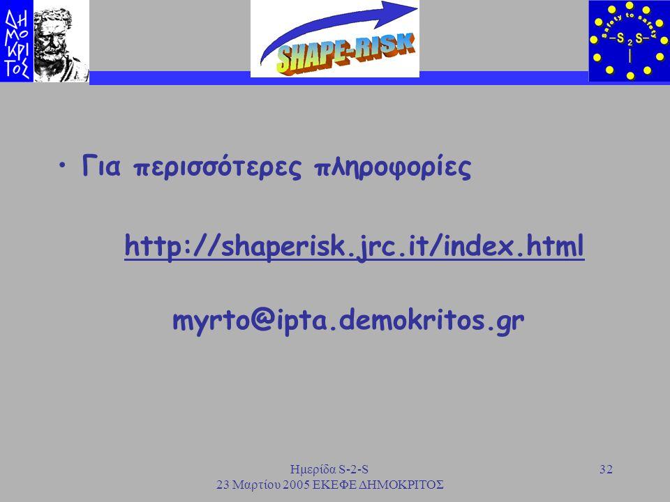 Ημερίδα S-2-S 23 Μαρτίου 2005 ΕΚΕΦΕ ΔΗΜΟΚΡΙΤΟΣ 32 Για περισσότερες πληροφορίες http://shaperisk.jrc.it/index.html myrto@ipta.demokritos.gr