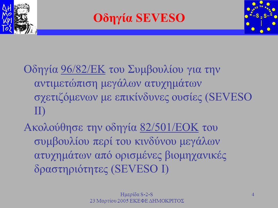 Ημερίδα S-2-S 23 Μαρτίου 2005 ΕΚΕΦΕ ΔΗΜΟΚΡΙΤΟΣ 5 Στόχος και απαιτήσεις της οδηγίας Στόχος: Μείωση της πιθανότητας εκδήλωσης ατυχημάτων και ελαχιστοποίηση των συνεπειών τους Εφαρμογή: Βιομηχανίες που αποθηκεύουν και διαχειρίζονται επικίνδυνες ουσίες Απαιτήσεις: Ανάλυση επικινδυνότητας, Πρόληψη ατυχημάτων και Εφαρμογή Συστήματος Διαχείρισης Ασφάλειας