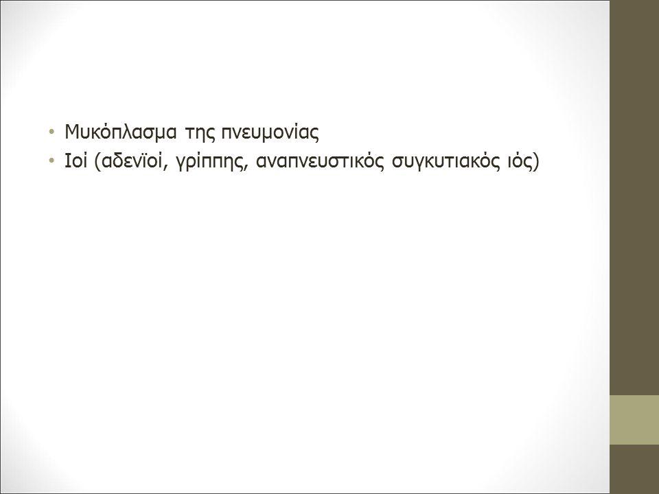 Μυκόπλασμα της πνευμονίας Ιοί (αδενϊοί, γρίππης, αναπνευστικός συγκυτιακός ιός)