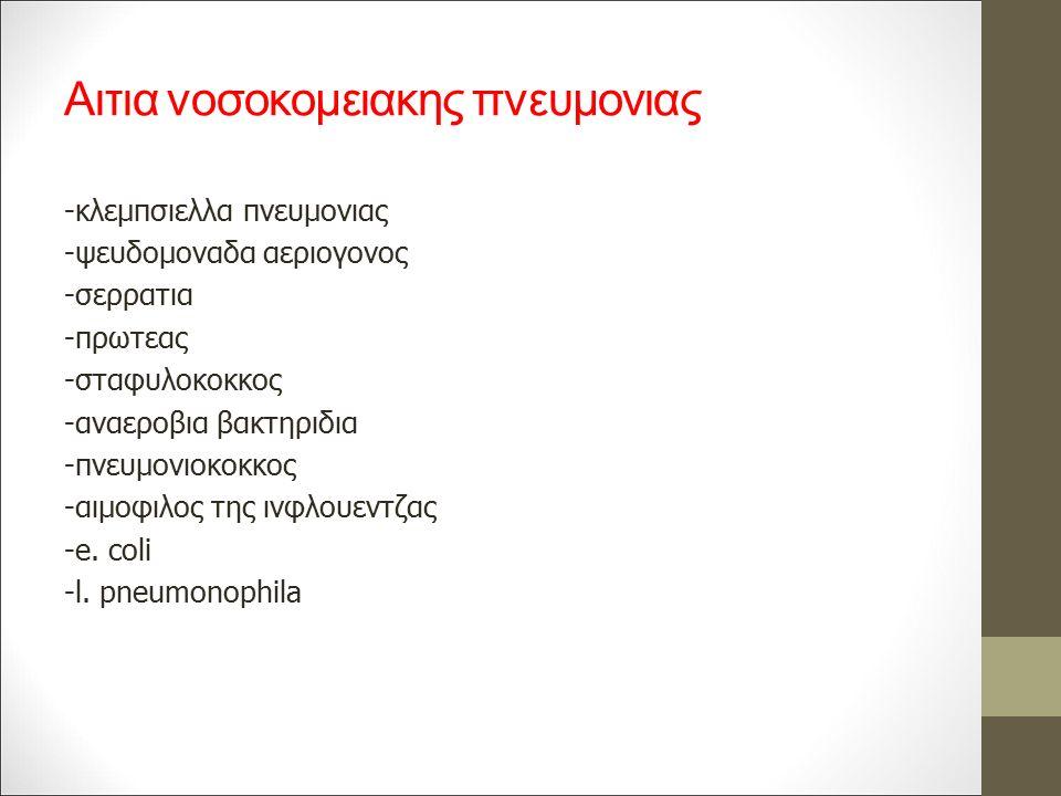 Αιτια νοσοκομειακης πνευμονιας -κλεμπσιελλα πνευμονιας -ψευδομοναδα αεριογονος -σερρατια -πρωτεας -σταφυλοκοκκος -αναεροβια βακτηριδια -πνευμονιοκοκκος -αιμοφιλος της ινφλουεντζας -e.