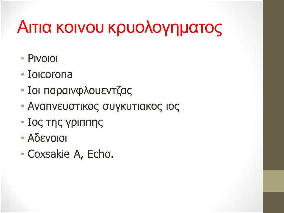 Αιτια κοινου κρυολογηματος Ρινοιοι Ιοιcorona Ιοι παραινφλουεντζας Αναπνευστικος συγκυτιακος ιος Ιος της γριππης Αδενοιοι Coxsakie A, Echo.
