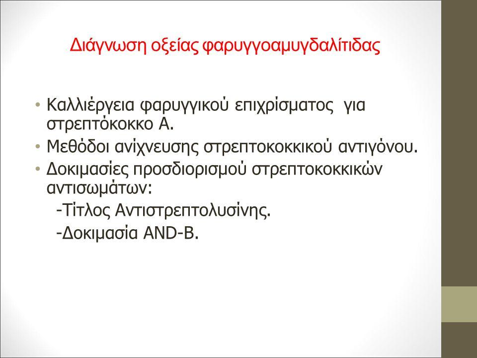 Διάγνωση οξείας φαρυγγοαμυγδαλίτιδας Καλλιέργεια φαρυγγικού επιχρίσματος για στρεπτόκοκκο Α.