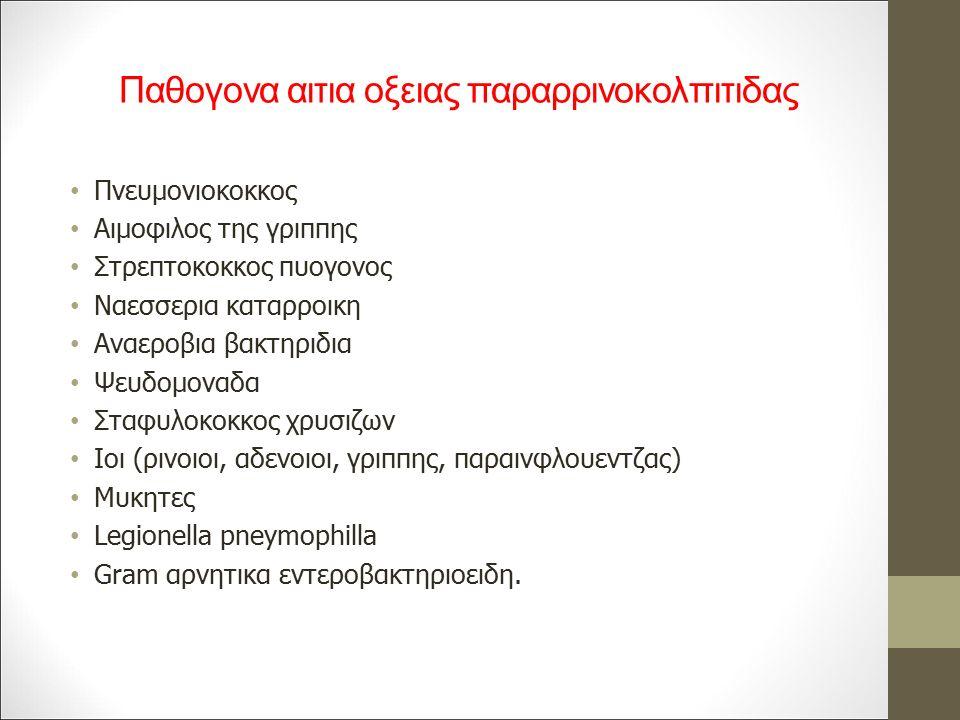 Παθογονα αιτια οξειας παραρρινοκολπιτιδας Πνευμονιοκοκκος Αιμοφιλος της γριππης Στρεπτοκοκκος πυογονος Ναεσσερια καταρροικη Αναεροβια βακτηριδια Ψευδομοναδα Σταφυλοκοκκος χρυσιζων Ιοι (ρινοιοι, αδενοιοι, γριππης, παραινφλουεντζας) Μυκητες Legionella pneymophilla Gram αρνητικα εντεροβακτηριοειδη.