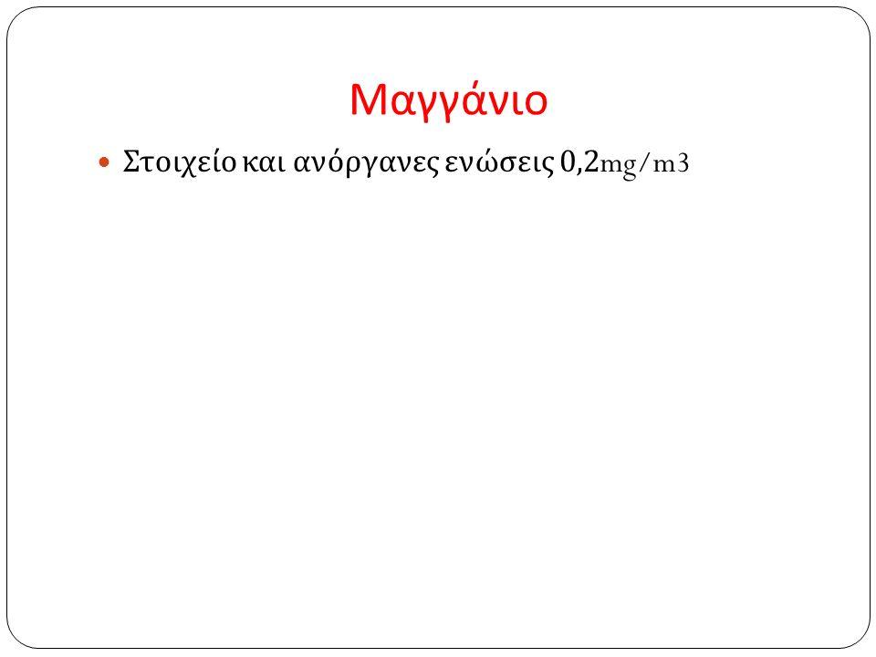 Μαγγάνιο Στοιχείο και ανόργανες ενώσεις 0,2mg/m3