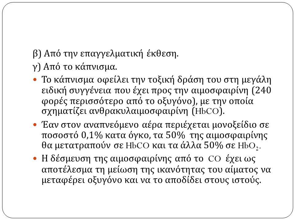 β ) Από την επαγγελματική έκθεση. γ ) Από το κάπνισμα.