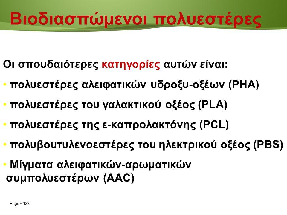 Page  122 Βιοδιασπώμενοι πολυεστέρες Οι σπουδαιότερες κατηγορίες αυτών είναι: πολυεστέρες αλειφατικών υδροξυ-οξέων (ΡΗΑ) πολυεστέρες του γαλακτικού οξέος (PLA) πολυεστέρες της ε-καπρολακτόνης (PCL) πολυβουτυλενοεστέρες του ηλεκτρικού οξέος (PBS) Μίγματα αλειφατικών-αρωματικών συμπολυεστέρων (AAC)