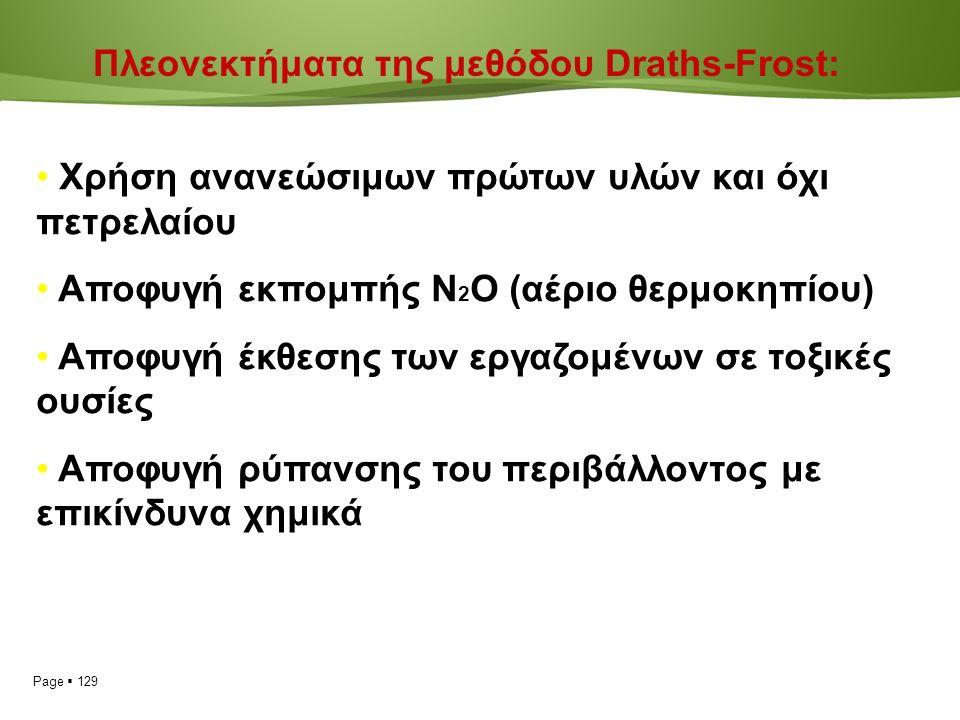 Page  129 Πλεονεκτήματα της μεθόδου Draths-Frost: Χρήση ανανεώσιμων πρώτων υλών και όχι πετρελαίου Αποφυγή εκπομπής Ν 2 Ο (αέριο θερμοκηπίου) Αποφυγή έκθεσης των εργαζομένων σε τοξικές ουσίες Αποφυγή ρύπανσης του περιβάλλοντος με επικίνδυνα χημικά