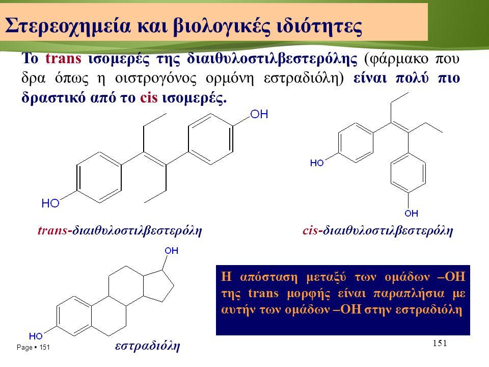 Page  151 151 Το trans ισομερές της διαιθυλοστιλβεστερόλης (φάρμακο που δρα όπως η οιστρογόνος ορμόνη εστραδιόλη) είναι πολύ πιο δραστικό από το cis ισομερές.