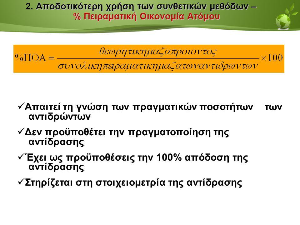 Page  35 Αποδοτικότερη χρήση των συνθετικών μεθόδων – % Πειραματική Οικονομία Ατόμου 2.