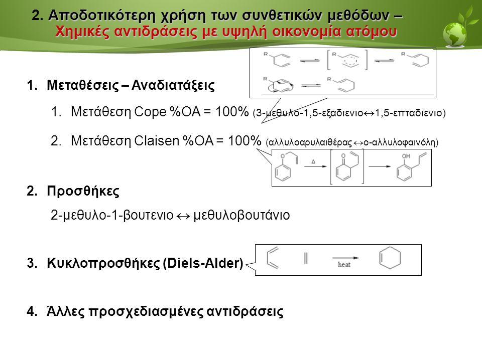 Page  38 Αποδοτικότερη χρήση των συνθετικών μεθόδων – Χημικές αντιδράσεις με υψηλή οικονομία ατόμου 2.