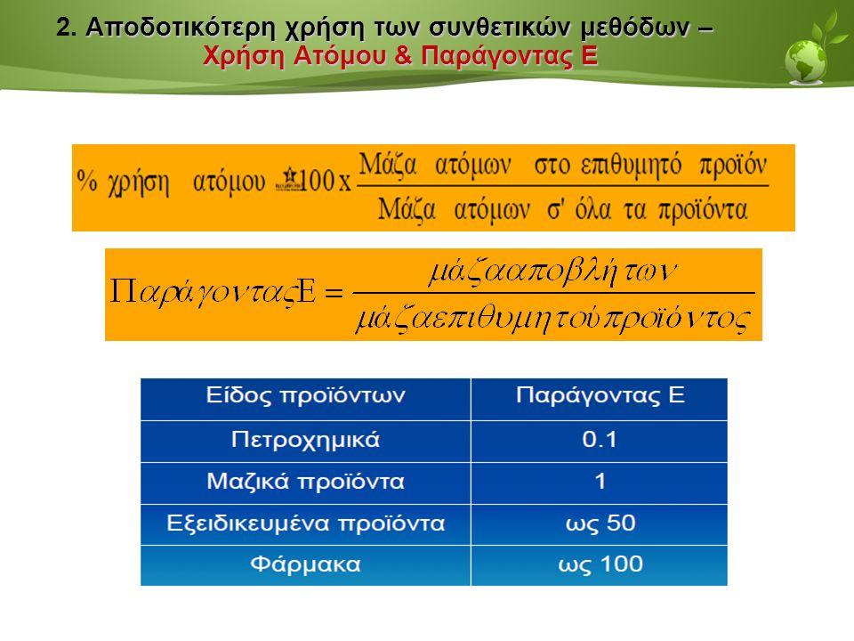 Page  40 Αποδοτικότερη χρήση των συνθετικών μεθόδων – Χρήση Ατόμου & Παράγοντας Ε 2.