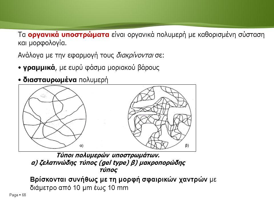 Page  68 Τα οργανικά υποστρώματα είναι οργανικά πολυμερή με καθορισμένη σύσταση και μορφολογία.
