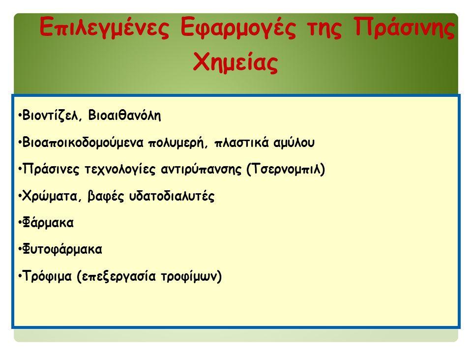 Επιλεγμένες Εφαρμογές της Πράσινης Χημείας Βιοντίζελ, Βιοαιθανόλη Βιοαποικοδομούμενα πολυμερή, πλαστικά αμύλου Πράσινες τεχνολογίες αντιρύπανσης (Τσερνομπιλ) Χρώματα, βαφές υδατοδιαλυτές Φάρμακα Φυτοφάρμακα Τρόφιμα (επεξεργασία τροφίμων)