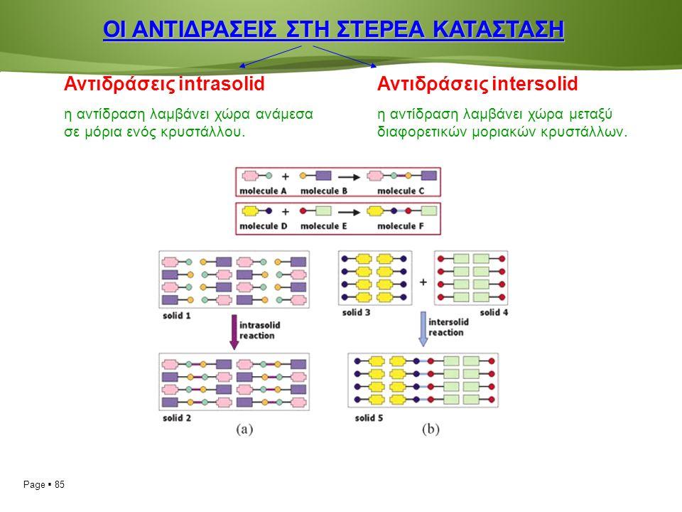 Page  85 ΟΙ ΑΝΤΙΔΡΑΣΕΙΣ ΣΤΗ ΣΤΕΡΕΑ ΚΑΤΑΣΤΑΣΗ Αντιδράσεις intrasolid η αντίδραση λαμβάνει χώρα ανάμεσα σε μόρια ενός κρυστάλλου.