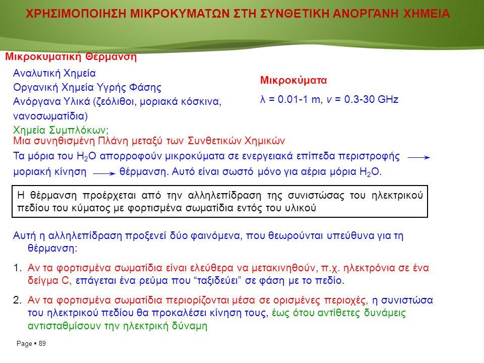 Page  89 ΧΡΗΣΙΜΟΠΟΙΗΣΗ ΜΙΚΡΟΚΥΜΑΤΩΝ ΣΤΗ ΣΥΝΘΕΤΙΚΗ ΑΝΟΡΓΑΝΗ ΧΗΜΕΙΑ Μικροκυματική Θέρμανση Αναλυτική Χημεία Οργανική Χημεία Υγρής Φάσης Ανόργανα Υλικά (ζεόλιθοι, μοριακά κόσκινα, νανοσωματίδια) Χημεία Συμπλόκων; Μικροκύματα λ = 0.01-1 m, ν = 0.3-30 GHz Μια συνηθισμένη Πλάνη μεταξύ των Συνθετικών Χημικών Τα μόρια του Η 2 Ο απορροφούν μικροκύματα σε ενεργειακά επίπεδα περιστροφής μοριακή κίνηση θέρμανση.