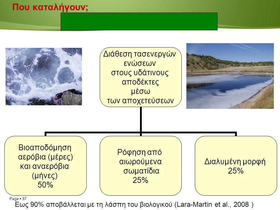 Page  97 Που καταλήγουν; Διάθεση τασενεργών ενώσεων στους υδάτινους αποδέκτες μέσω των αποχετεύσεων Βιοαποδόμηση αερόβια (μέρες) και αναερόβια (μήνες) 50% Ρόφηση από αιωρούμενα σωματίδια 25% Διαλυμένη μορφή 25% Εως 90% αποβάλλεται με τη λάσπη του βιολογικού (Lara-Martin et al., 2008 )