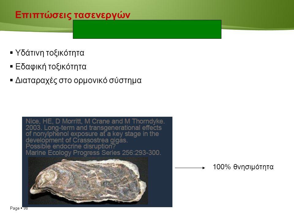 Page  98 Επιπτώσεις τασενεργών  Υδάτινη τοξικότητα  Εδαφική τοξικότητα  Διαταραχές στο ορμονικό σύστημα 100% θνησιμότητα