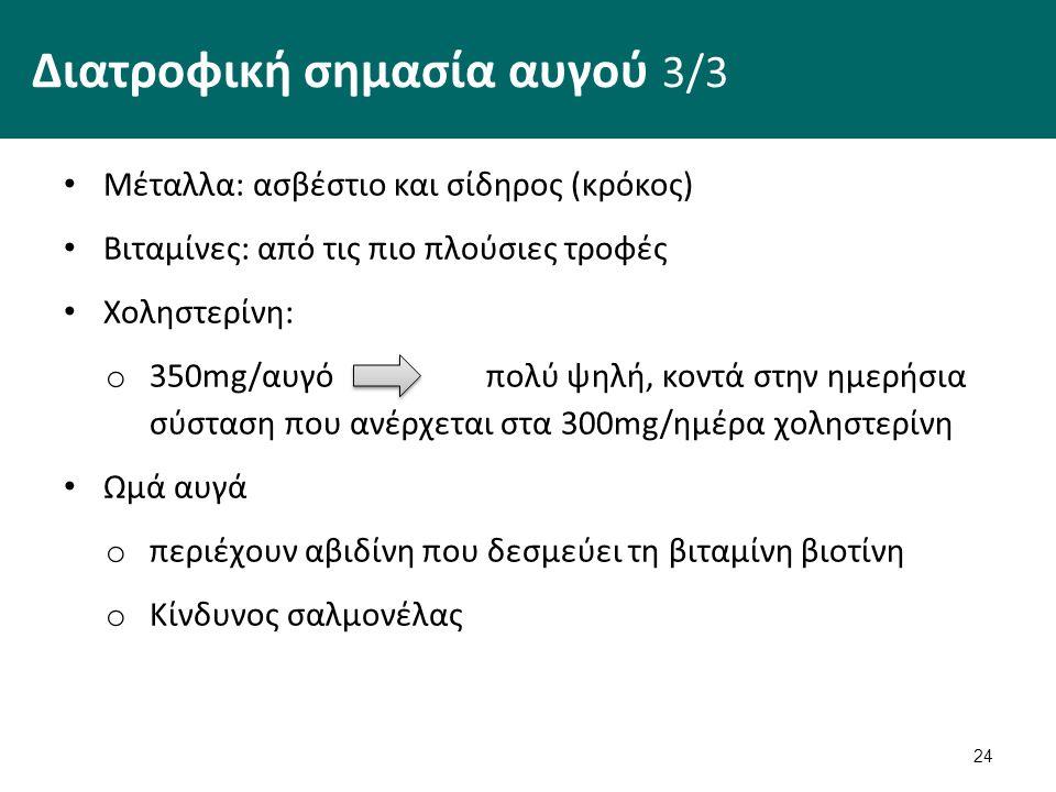 24 Διατροφική σημασία αυγού 3/3 Μέταλλα: ασβέστιο και σίδηρος (κρόκος) Βιταμίνες: από τις πιο πλούσιες τροφές Χοληστερίνη: o 350mg/αυγό πολύ ψηλή, κοντά στην ημερήσια σύσταση που ανέρχεται στα 300mg/ημέρα χοληστερίνη Ωμά αυγά o περιέχουν αβιδίνη που δεσμεύει τη βιταμίνη βιοτίνη o Κίνδυνος σαλμονέλας