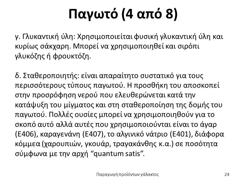 Παγωτό (4 από 8) γ. Γλυκαντική ύλη: Χρησιμοποιείται φυσική γλυκαντική ύλη και κυρίως σάκχαρη.