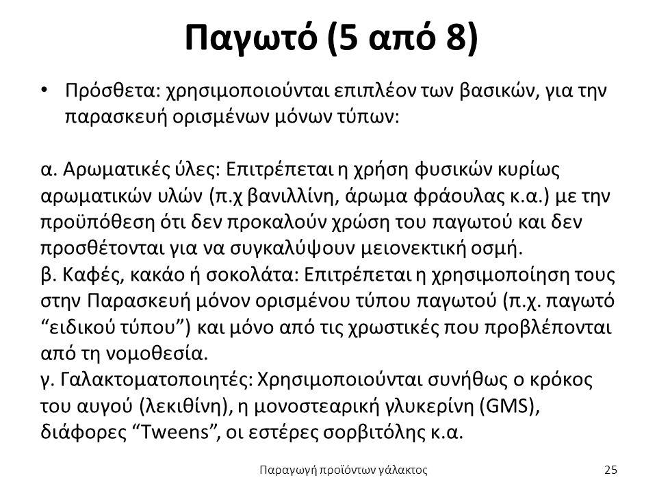 Παγωτό (5 από 8) Πρόσθετα: χρησιμοποιούνται επιπλέον των βασικών, για την παρασκευή ορισμένων μόνων τύπων: α.