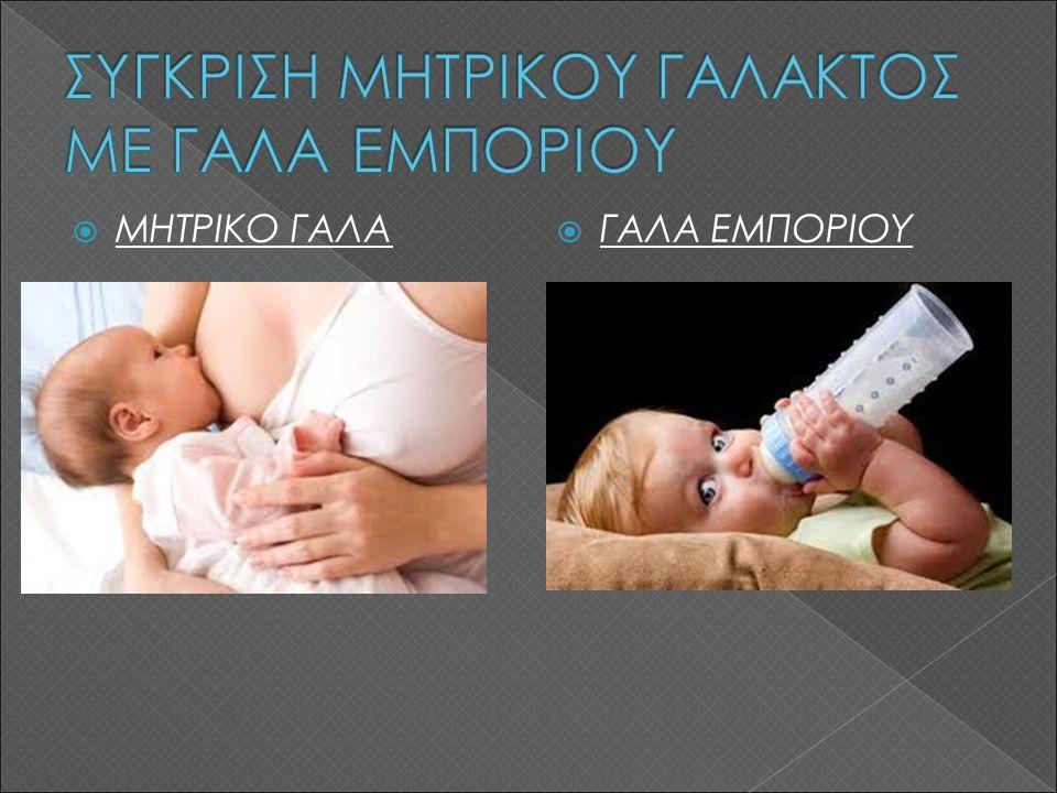 ΜΗΤΡΙΚΟ ΓΑΛΑ  ΓΑΛΑ ΕΜΠΟΡΙΟΥ Σε περίπτωση υποχρεωτικού αποχωρισμού μητέρας-παιδιού, θα ταΐσει το παιδί κάποιος άλλος.
