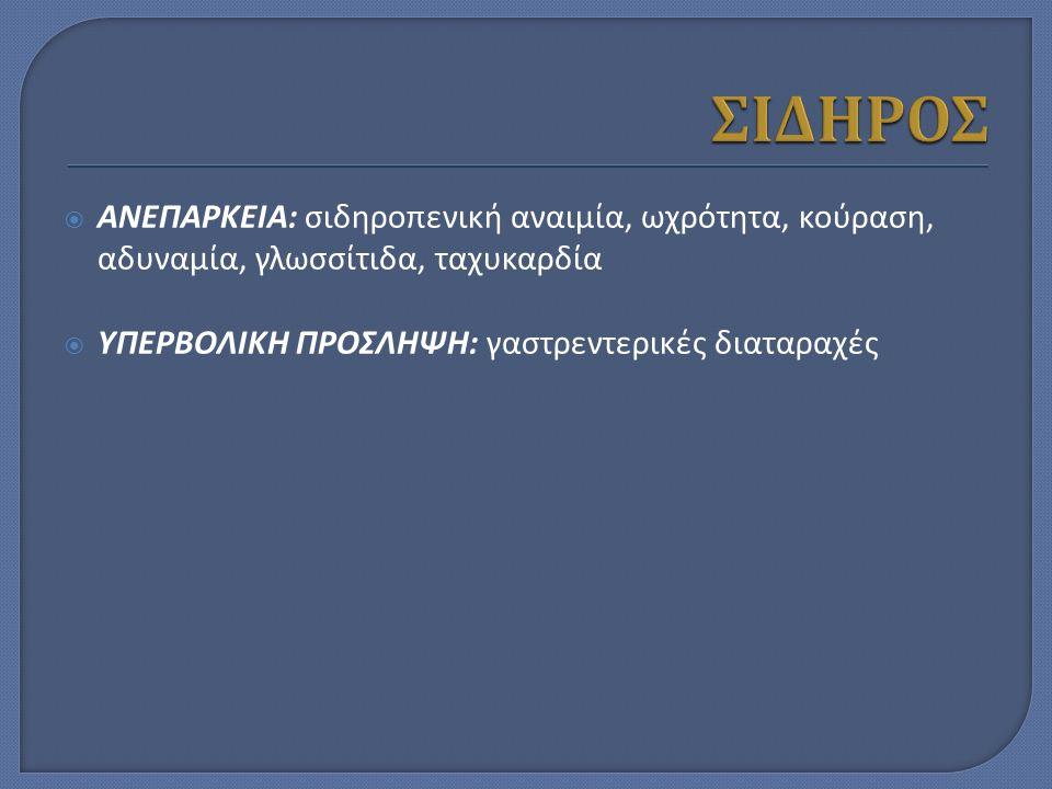  ΑΝΕΠΑΡΚΕΙΑ: σιδηροπενική αναιμία, ωχρότητα, κούραση, αδυναμία, γλωσσίτιδα, ταχυκαρδία  ΥΠΕΡΒΟΛΙΚΗ ΠΡΟΣΛΗΨΗ: γαστρεντερικές διαταραχές