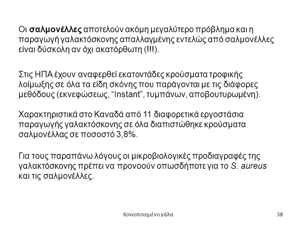 38 Οι σαλμονέλλες αποτελούν ακόμη μεγαλύτερο πρόβλημα και η παραγωγή γαλακτόσκονης απαλλαγμένης εντελώς από σαλμονέλλες είναι δύσκολη αν όχι ακατόρθωτη (!!!).