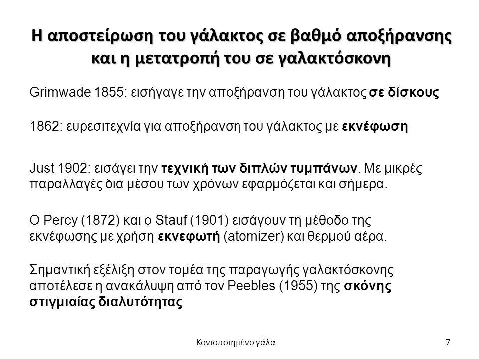 7 Η αποστείρωση του γάλακτος σε βαθμό αποξήρανσης και η μετατροπή του σε γαλακτόσκονη Σημαντική εξέλιξη στον τομέα της παραγωγής γαλακτόσκονης αποτέλεσε η ανακάλυψη από τον Peebles (1955) της σκόνης στιγμιαίας διαλυτότητας Grimwade 1855: εισήγαγε την αποξήρανση του γάλακτος σε δίσκους 1862: ευρεσιτεχνία για αποξήρανση του γάλακτος με εκνέφωση Just 1902: εισάγει την τεχνική των διπλών τυμπάνων.