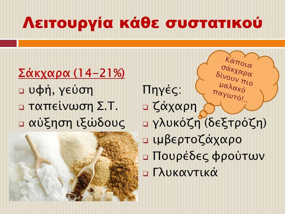 Λειτουργία κάθε συστατικού Σάκχαρα (14-21%)  υφή, γεύση  ταπείνωση Σ.Τ.  αύξηση ιξώδους Πηγές:  ζάχαρη  γλυκόζη (δεξτρόζη)  ιμβερτοζάχαρο  Πουρ