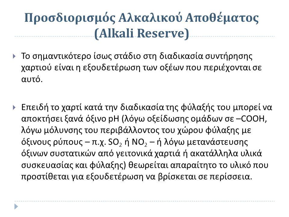 Προσδιορισμός Αλκαλικού Αποθέματος (Alkali Reserve)  Το σημαντικότερο ίσως στάδιο στη διαδικασία συντήρησης χαρτιού είναι η εξουδετέρωση των οξέων πο