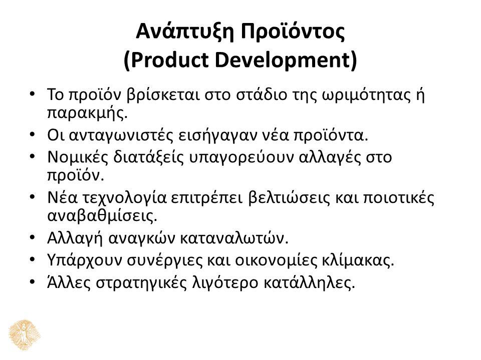 Ανάπτυξη Προϊόντος (Product Development) Το προϊόν βρίσκεται στο στάδιο της ωριμότητας ή παρακμής.