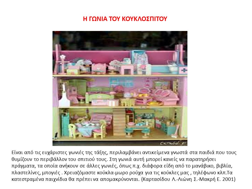 Η ΓΩΝΙΑ ΤΟΥ ΚΟΥΚΛΟΣΠΙΤΟΥ Είναι από τις ευχάριστες γωνιές της τάξης, περιλαμβάνει αντικείμενα γνωστά στα παιδιά που τους θυμίζουν το περιβάλλον του σπιτιού τους.