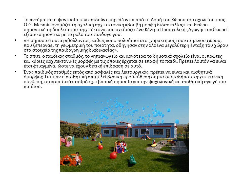 Το πνεύμα και η φαντασία των παιδιών επηρεάζονται από τη Δομή του Χώρου του σχολείου τους.