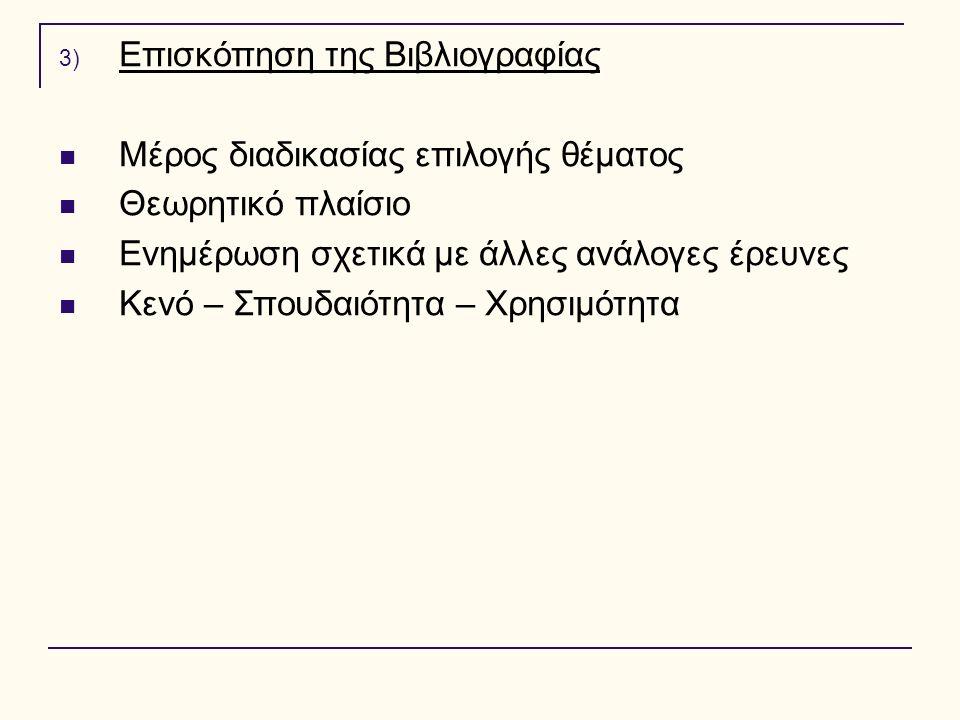 3) Επισκόπηση της Βιβλιογραφίας Μέρος διαδικασίας επιλογής θέματος Θεωρητικό πλαίσιο Ενημέρωση σχετικά με άλλες ανάλογες έρευνες Κενό – Σπουδαιότητα –